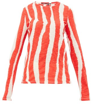 Proenza Schouler Zebra-print Cotton Long-sleeved T-shirt - Womens - Cream Multi