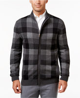 Tasso Elba Men's Soft Touch Mock Neck Check Zip-Up Sweater, Only at Macy's