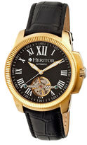 Heritor Automatic Franklin Mens Semi-Skeleton Leather-Gold/Black Watches