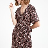 La Redoute Collections Floral Print Wrapover Dress with Short Sleeves