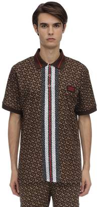 Burberry Tb All Over Monogram Cotton Pique Polo