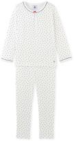 Petit Bateau Girls ribbed cotton pyjamass with little hearts