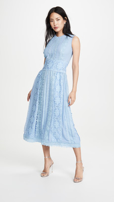 Costarellos Sleeveless Chiffon Dress with Cotton Guipure