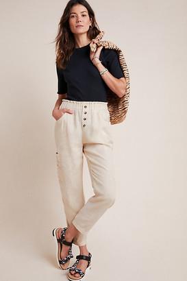 BEIGE Linen Utility Pants By Amadi in Size XS