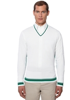 Brooks Brothers Tipped V-Neck Sweater with Contrast Back