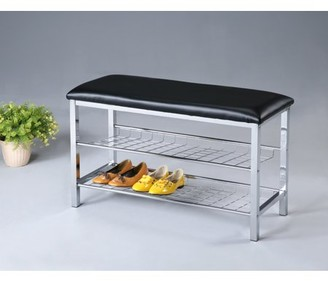 Roundhill Furniture Roundhill Metal Shoe Bench with Faux Leather Seat, Chrome and Black
