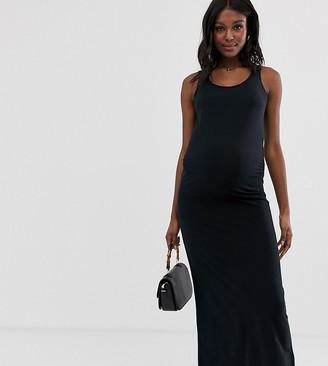 Mama Licious Mamalicious Maternity organic cotton maxi dress in black