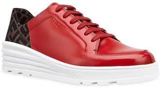 Fendi Ff Motif Lace-up Sneakers Red