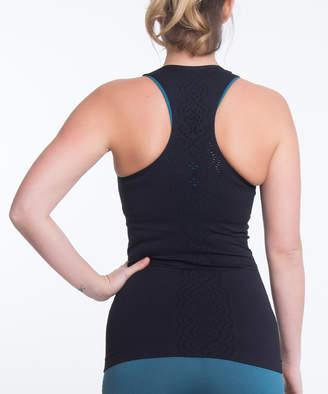 Climawear Women's Tank Tops BLACK - Black Hollow-Out Racerback Tank - Women