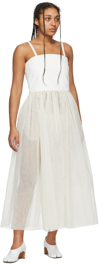 Thumbnail for your product : MM6 MAISON MARGIELA White Denim Tulle Tank Dress