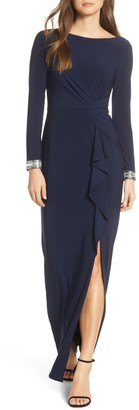 Vince Camuto Beaded Cuff Ruched Jersey Dress (Regular & Petite)