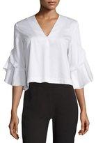 Nicholas Half-Sleeve V-Neck Cotton Top, White