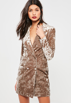 Missguided Tan Crushed Velvet Blazer Dress