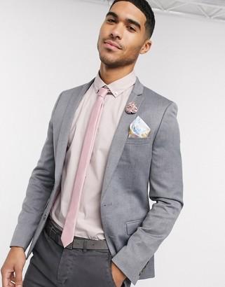 ASOS DESIGN wedding super skinny wool mix blazer in grey