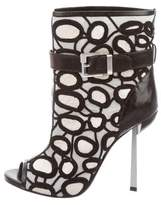 Sergio Rossi Embroidered Peep-Toe Booties w/ Tags