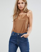 Vila Cami Top With Lace Panel