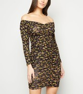 New Look Carpe Diem Floral Ruched Bardot Dress
