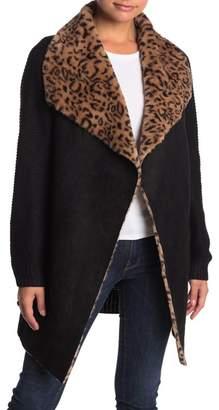OnTwelfth Faux Fur & Faux Suede Drape Collar Cardigan