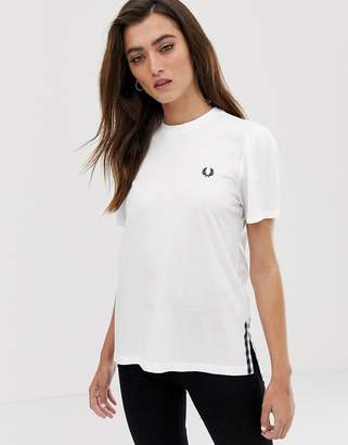 Fred Perry gingham trim t-shirt-White