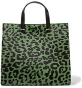 Clare Vivier Petit Leopard-print Calf Hair And Leather Tote - Green