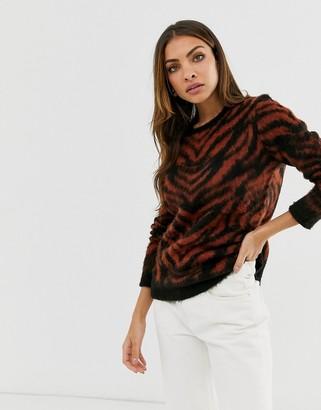 B.young zebra textured sweater