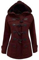 LAKAYA Womens Classic Pea Coat Jacket Wool Blended Plus Size Hoodie Outwear XXL Wine