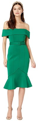 Badgley Mischka Off-the-Shoulder Belted Scuba Cocktail Dress (Green) Women's Dress