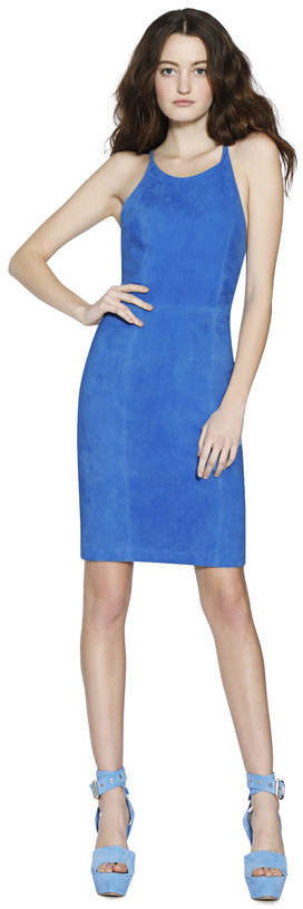Alice + Olivia Singer Suede Fitted Dress