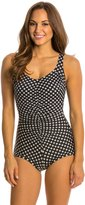 Penbrooke Neautral Spot Shirred Front Girl Leg One Piece Swimsuit 8136138