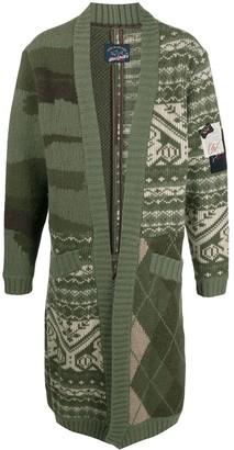 Greg Lauren Contrast Knit Cardigan
