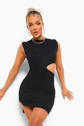 boohoo Bandage Rib Shoulder Pad Cut Out Mini Dress
