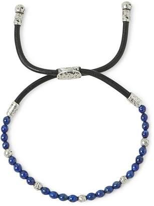 John Varvatos Collection Sterling Silver & Leather Mercer Lapis Beaded Adjustable Bracelet