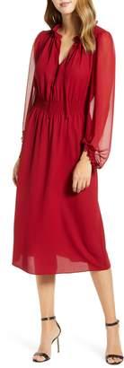 Anne Klein Smocked Waist Midi Dress