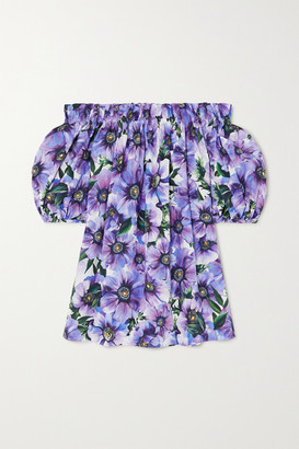 Dolce & Gabbana Off-the-shoulder Floral-print Cotton-poplin Top - Purple