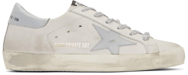 Golden Goose Off-White and Grey Superstar Sneakers