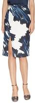 Halston Printed Faux-Wrap Skirt