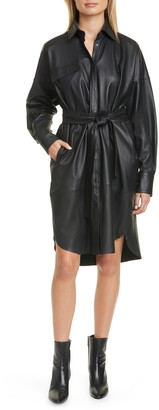 REMAIN Birger Christensen Bologna Long Sleeve Leather Shirtdress