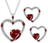 Gem Stone King 2.10 Ct Heart Shape Garnet Gemstone 18k White Gold Pendant Earrings Set