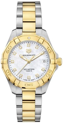 Tag Heuer 18kt Gold and Diamond Dial Aquaracer 300m Quartz Watch 32mm