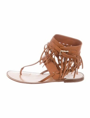 Valentino Leather Fringe Trim Accent T-Strap Sandals Brown