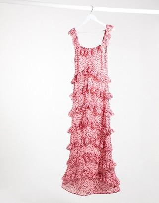 Pretty Lavish tiered ruffle midaxi dress in pink and red spot print