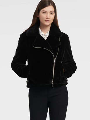 DKNY Women's Asymmetrical Jacket With Side Buckles - Black - Size XX-Small