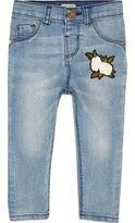 River Island Mini girls blue wash badge skinny jeans