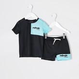 River Island Mini boys RI Active black T-shirt outfit