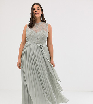Little Mistress Plus lace embroidered top maxi dress in gray