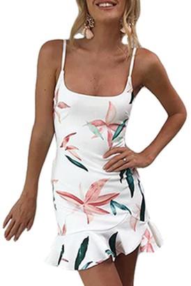 365 Shopping 365-Shopping Women Summer Ruffles Dress Strappy Mini Dress Beach Party Tunic Tops Dresses Black