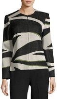 "Ming Wang 26""L Graphic-Knit Zip-Front Jacket, Multi"