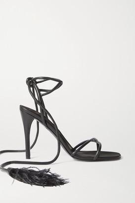 Valentino Garavani Upflair 100 Feather-trimmed Leather Sandals - Black