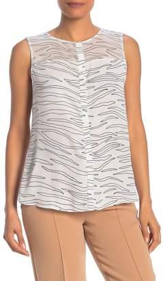 T Tahari Hidden Placket Sleeveless Shirt