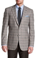 Hart Schaffner Marx Grey Plaid Two Button Notch Lapel Wool Blend Sport Coat